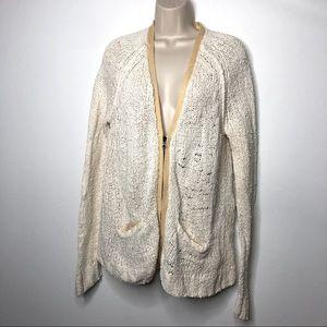 Rag & Bone off  white knitted v neck cardigan M A1